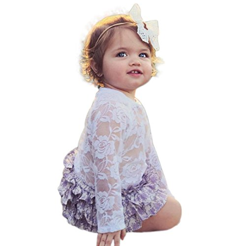 Fineser Infant Baby Girls Tulle Lace Peter Pan Collar Long Sleeve Ropmer Jumpsuit Playsuit Outfits (White, 12M)
