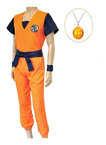 ZeroGoo Goku Costume Cosplay, Unisex Dragon Ball Z Costume Cloth with 4 Star DBZ Necklace for Kid Adult Men Women Christmas (Men L) Orange]()