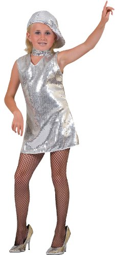 Silver Dress Disco Costume - Child Small - Motown Party Costume