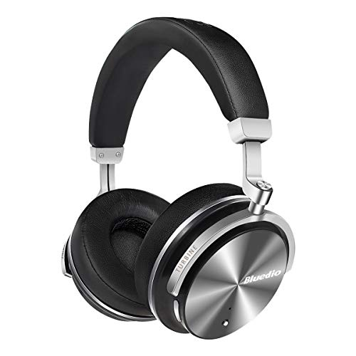 Bluedio T4S Active Noise Cancelling Bluetooth Headphones Over Ear with Mic, 57mm Driver Swiveling Wireless Headset, Wired and Wireless Headphones for Cell Phone/TV/ PC Gift (Black)