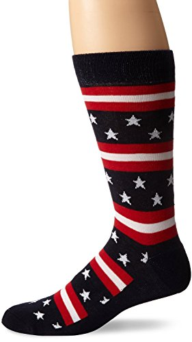K. Bell Socks Stars and Stripes Crew Sock, Red/White/Blue, 10-13