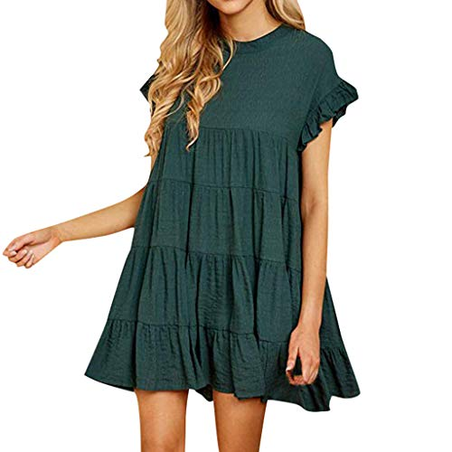 Dress Casual Plain Simple T-Shirt Loose Dress Ruffle