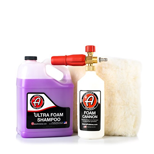 Adam's Foam Cannon Car Wash Kit - Produces Thick Car Foam Shampoo Soap with A Plush, Synthetic Wool Wash Pad for A Swirl & Scratch Free Wash - Car Cleaning Supplies - Pressure Washer & Hose Required