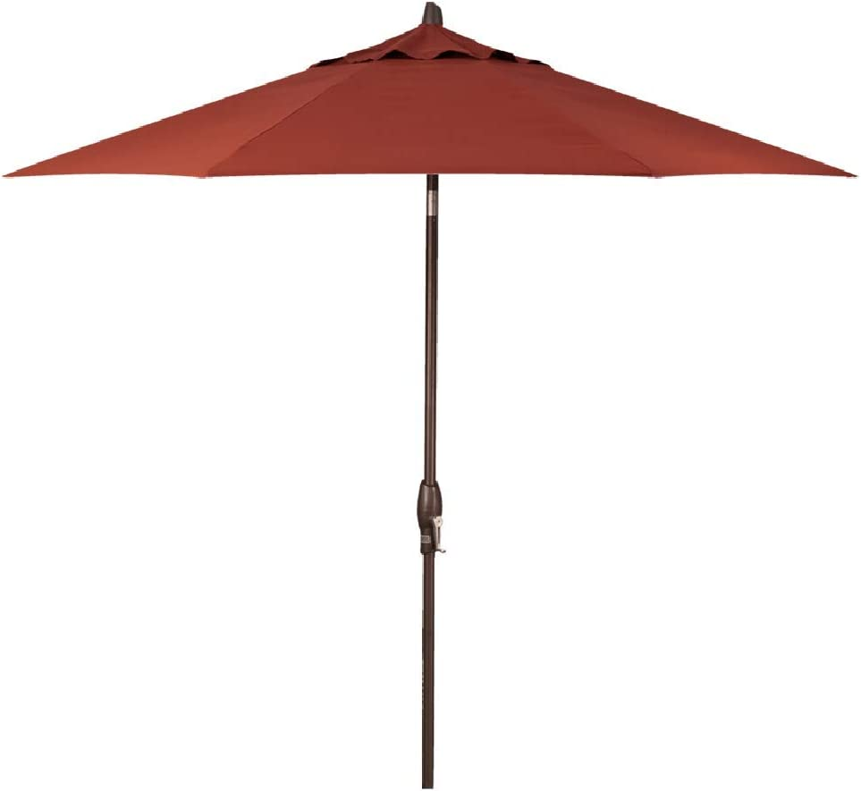 Treasure Garden 9-Foot Push-Button Tilt Market Umbrella with Bronze Frame and Obravia (4 YR Warranty) Fabric: Auburn