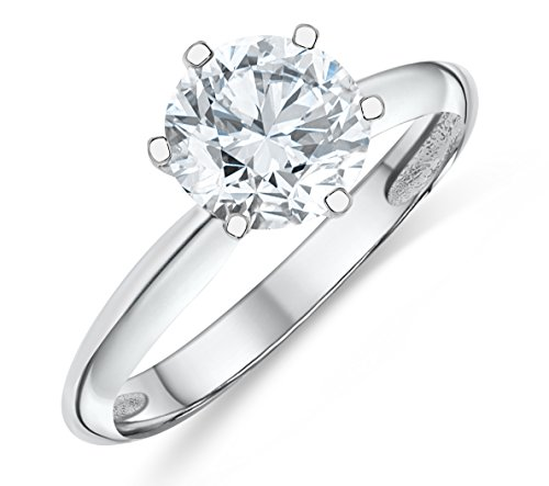 Buy Jewels 14k Authentic 6 Prong Gold Ring AAA Solitaire CZ Engagement Ring (White-Gold, (Gold Six Prong Solitaire)
