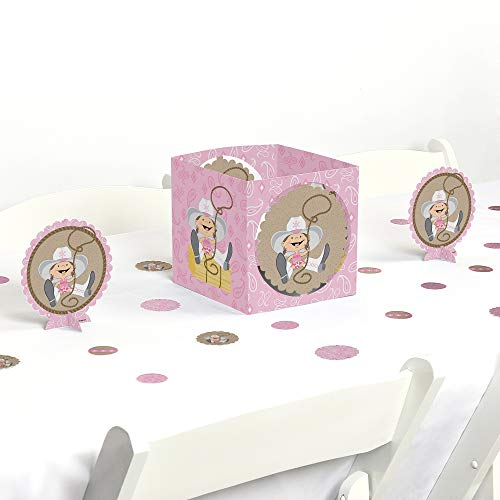 Big Dot of Happiness Little Cowgirl - Western Baby Shower or Birthday Party Centerpiece & Table Decoration -