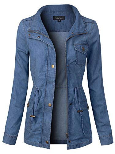 Instar Mode Women's Long Sleeve Lightweight Denim Chambray Jacket Medium Denim L