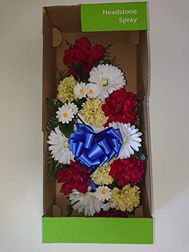 "Price comparison product image NDI Red,  White,  Blue,  Green,  Yellow Memorial Headstone Spray Beautiful Artificial Flowers Roses,  Daisies,  Ribbons for cemetary plots,  Religious Shrine,  Grave Decoration,  Funeral Services - 24"" x 11"""