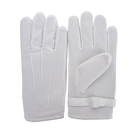 JISEN Men Police Formal Tuxedo Honor Guard Parade White Winter Windproof Polyester Gloves (Slip Resistant (Marching Band Halloween Costume)