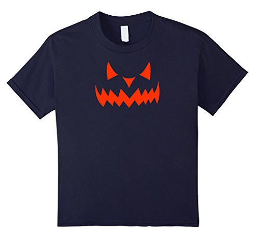 Scary Demon Face (Kids Scary Halloween Evil Demon Pumpkin Face T-shirt (Red) 12 Navy)
