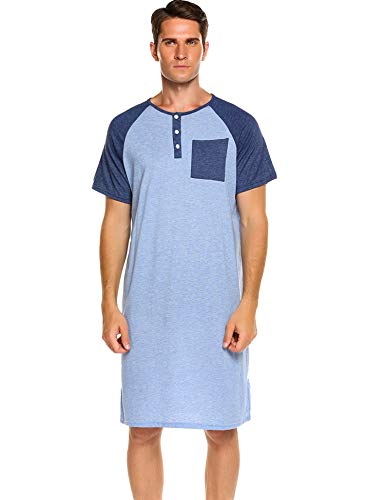 Skylin Men's Nightshirt Cotton Nightwear Comfy Big&Tall Short Sleeve Henley Sleep Shirt (Blue, ()
