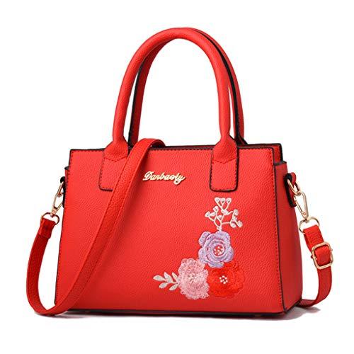Mode féminine Sac fourre-Tout brodé Sac bandoulière Simple épaule 6 Couleurs (27 * 18 * 12cm) (Couleur : Red)