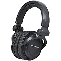 Monoprice Premium Hi-Fi DJ Style Over the Ear Professional Headphones - Black with microphone for Studio PC Apple Iphone iPod Android Smartphone Samsung Galaxy Tablets MP3