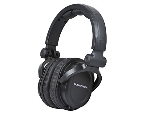 Monoprice Premium Hi-Fi DJ Style Over the Ear Professional Headphones - Black with microphone for Studio PC Apple Iphone iPod Android Smartphone Samsung Galaxy Tablets MP3 (Operation Buck Black)