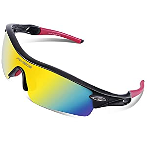 RIVBOS 805 TR 90 Frame Polarized Sports Sunglasses Sun Glasses with 5 Set Interchangeable Lenses for Men Women Cycling Baseball