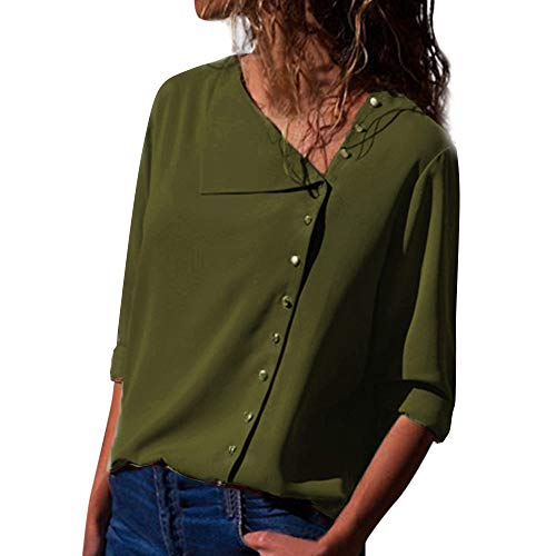 clearance sale!!ZEFOTIM Womens Casual Lapel Neck T-shirt Ladies Long Sleeve Buckle Blouse Tops (US-12/CN-M,Green)