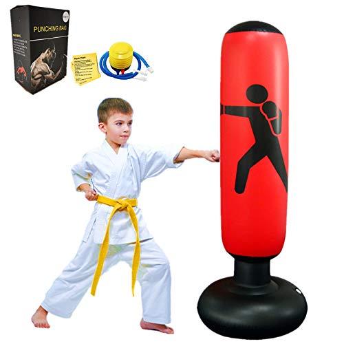 FOYOCER Punching Bag Kids Freestanding Boxing Bag Inflatable Kids Boxing Set Bounce Back for Practicing Karate MMA…