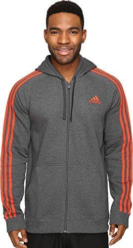 adidas Men's Athletics Essential Cotton Fleece Full Zip Jacket, Dark Grey Heather/Dark Orange, X-Large