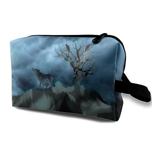Wolf On Mountain Cosmetic Bags Makeup Organizer Bag Pouch Zipper Purse Handbag Clutch Bag -