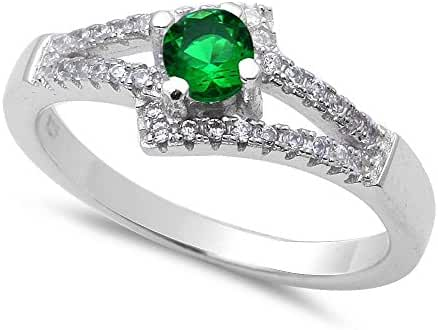New Design Simulated Green Emerald & Cubic Zirconia .925 Sterling Silver Ring Sizes 5-9