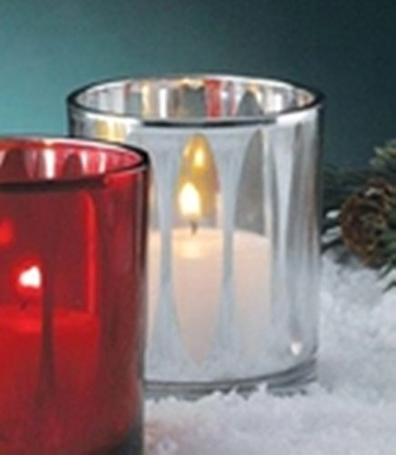 Biedermann & Sons Cathedral Votive Glass Candle Holders (Box of 6), Silver - Candle Votive Cathedral