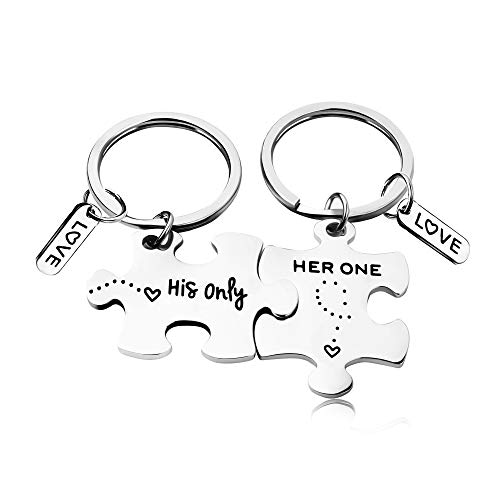 REEBOOOR Her One His Only Couples Keychain Gift for Her Wedding Keyrings Anniversay Jewelry Gift for Boyfriend & Girlfriend (Silver Keychain-Her and His) by REEBOOOR