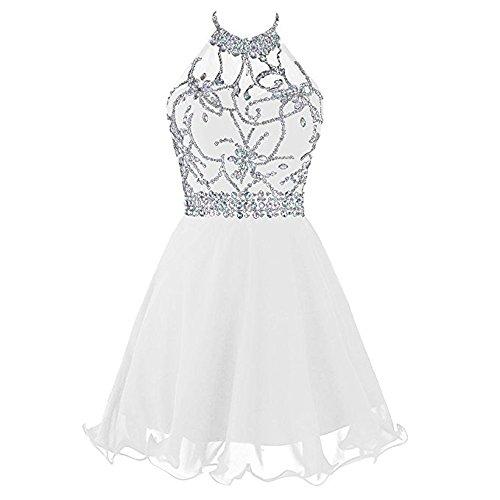 Mr.Ace HommeWomen's Short Beaded Prom Dress Halter Homecoming Dresses Backless (White Prom Dress Backless)