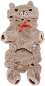 Doggie Style Store Brown Bear Soft Fleece Velour Dog Onesie Pyjamas 5 Sizes
