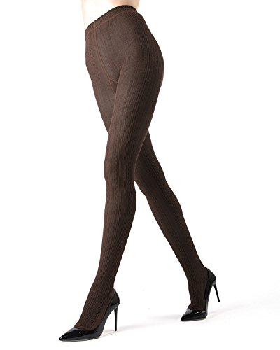 Memoi Toronto Cable Sweater Tights | Women's Hosiery - Pantyhose Brown Heather MO 361 Medium/Large (Cable Womens Tights)