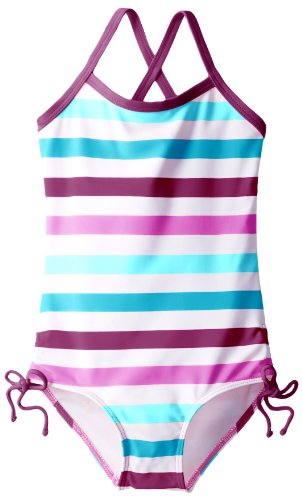 Kanu Surf Little Girls' Toddler Sassy One Piece Swimsuit, Purple/Blue, 3T