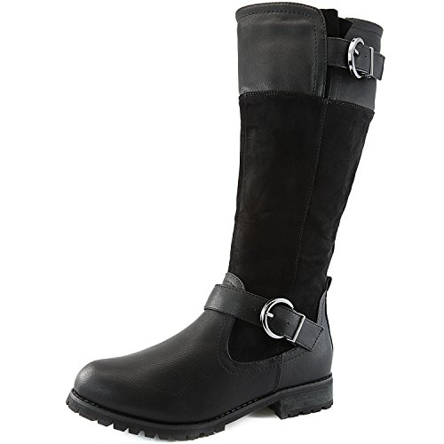 DailyShoes Women's Double Buckle Military Combat Boots Side Zipper Fashion Shoes, 7.5