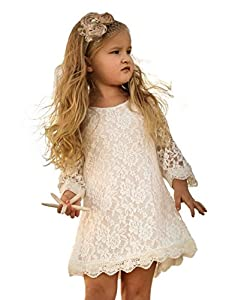 APRIL GIRL Flower Girl Dress, Lace Dress 3/4 Sleeve Dress