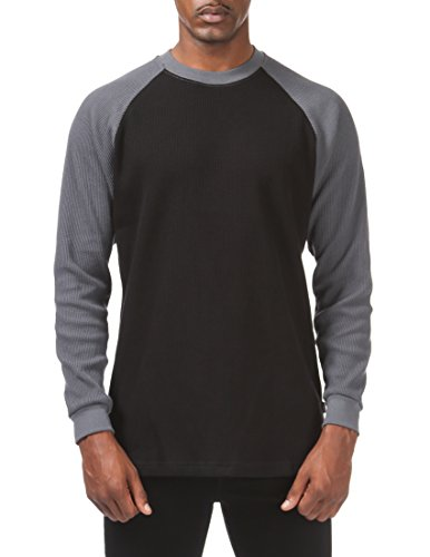 Pro Club Men's Heavyweight Baseball Thermal Raglan Long Sleeve Shirt, X-Large, Black/Graphite