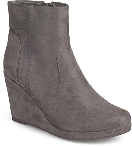 Journee Booties Faux Grey Collection Suede Womens Wedge ZrUngqZ7w