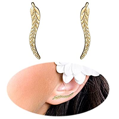 Leaf Studs Ear Crawler Earrings Cuffs Climber Ear Wrap Pin Cute Women Vine Pierced Charms Hoops Jewelry