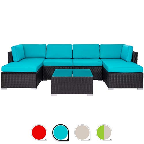 Walsunny 7pcs Patio Outdoor Furniture Sets,Low Back All-Weather Rattan Sectional Sofa with Tea Table&Washable Couch Cushions&Ottoman (Black Rattan(Blue)