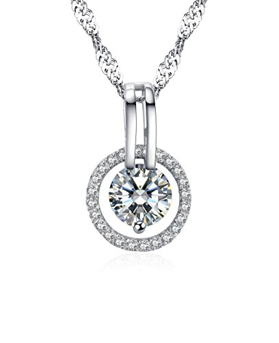 Arieanna S925 Sterling Silver Guardian Angel Swarovski Element Crystal Necklace 10mm Circle