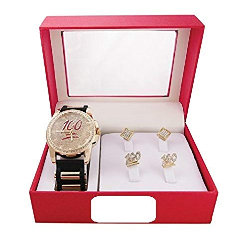 Hip Hop 100% Keep It Real!! Iced Out Rubber Black and Gold Watch with Matching 100% Iced Out Stud Earrings and Kite Pave Design Iced Out Earrings Gift Set - GJM12F Gold - Out Pave Set Earrings