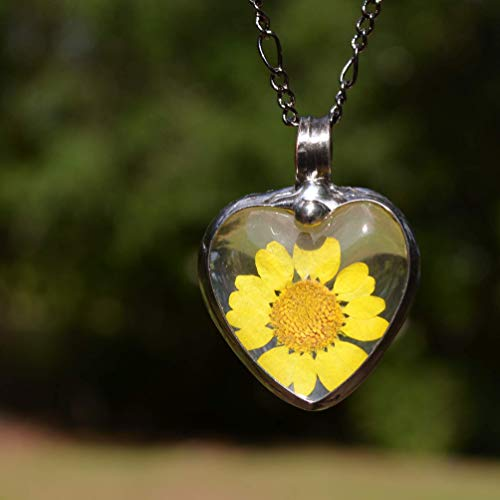 Large Sunflower Jewelry for Women, Real Dry Pressed Flowers, Terrarium Pendant, Handmade Glass Heart Necklace Gift 2788m