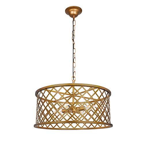(Paragon Home 3-Lights Antique Brass Round Pendant Lighting, 8.66