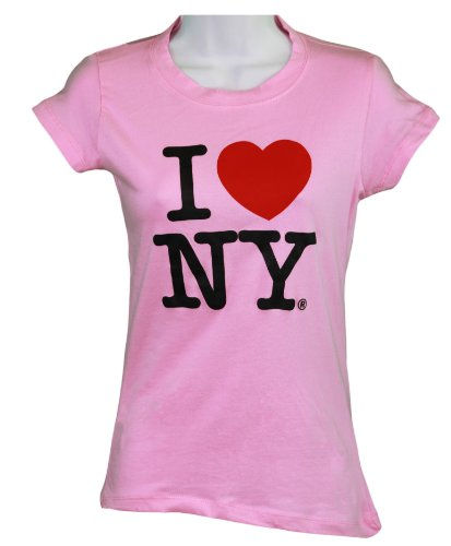 T-shirt Womens York New Pink (I Love NY New York Womens T-Shirt Spandex Tee Heart Light Pink Medium)