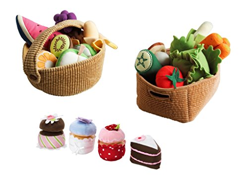IKEA Duktig Soft Toy Bundle - Includes 14 Piece Vegetable Soft Toy Set, 9 Piece Fruit Basket Soft Toy Set 4-Piece Cupcake Set Stuffed Plush Toy