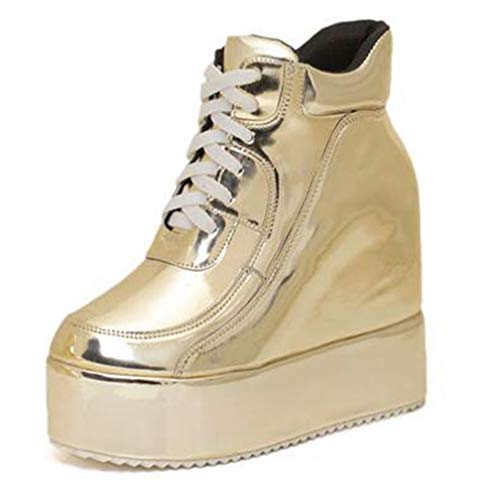 (Hidden Wedges Casual Shoes Platform Women Sneakers Faux Leather Lace Up Ankle Martin Boots Golden/Silver)