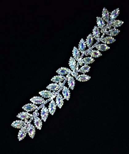 Rhinestone Leaf Bridal applique/ Sash Applique/Shine Like Swarovski Quarlity (Crystal AB/Silver Setting)