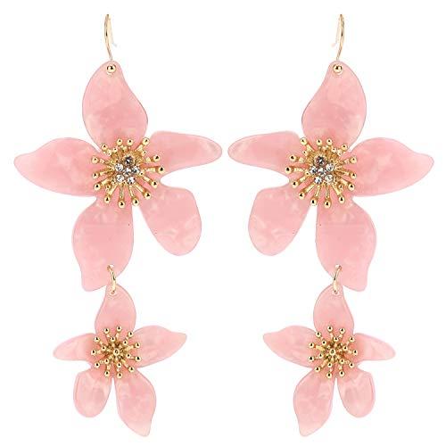 (Pink Acrylic Flower Earrings with Gift Box Cellulose Acetate Multi Flower Earrings Hawaiian Resin Flower Linked Drop Dangle Earrings for Women Girl)