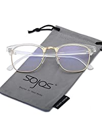 SojoS Clubmaster Semi Rimless Polarized Sunglasses Clear Lens Eyeglasses SJ5018