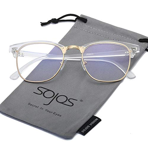 - SOJOS Clubmaster Horn-rimmed Semi Rimless Polarized Sunglasses SJ5018 with Transparent Frame/Gold Rim