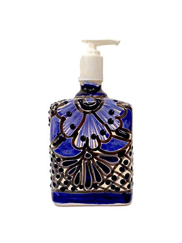 (Casa Fiesta Designs Talavera Soap & Lotion Dispenser, for Kitchen or Bathroom Countertops - Hand Painted Mexican Pottery Jabonera Blue and White)