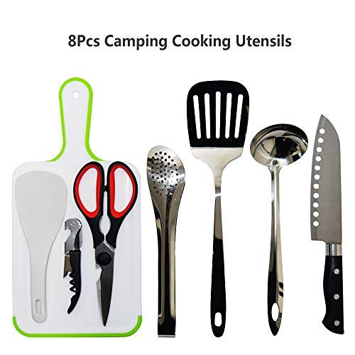 8Pcs Camping Cookware Kitchen Utensil Organizer Travel Set – Portable BBQ Camp Cookware Utensils Travel Kit with Water Resistant Case, Cutting Board, Rice Paddle, Tongs, Scissors, Knife (Black)