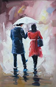 "Amazon.com: Love Couple ""Walking in the Rain"" Abstract ..."